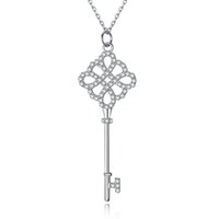 S925 Sterling Silver Keys Petals Key Pendant Necklace with D...