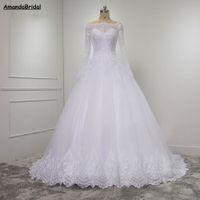 Amandabridal a manica lunga in pizzo abito di sfera Desses sposa per la sposa del corsetto di Tulle Abito da sposa Plus Size Abiti da sposa