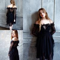 2018 épaule hors robe de bal courte pure manches longues perlée conception irrégulière robes de soirée cocktail Party robes noires