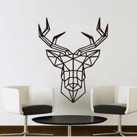 Etiqueta de la pared Diseño de Ciervos Geométrica Cabeza de Ciervo Geometría Serie Animal Tatuajes de Vinilo 3D Arte de la Pared Personalizado Decoración para el hogar IC885410