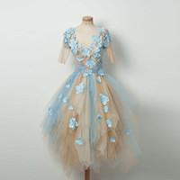 Синий и шампанское тюль Homecoming платья с цветком аппликация половина см хотя рукав нерегулярные спинки короткое платье коктейль платье гриля