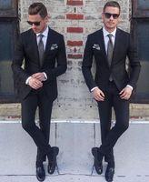 새로운 클래식 스타일 신랑 턱시도 2 버튼 블랙 피크 옷깃 Groomsmen 최고의 남자 정장 망 결혼식 정장 (자켓 + 바지 + 넥타이) 351