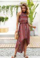 bf6e6e34f Impresión retro vestido sexy sin tirantes de impresión elástica playa dress  2019 nuevo verano tallas grandes