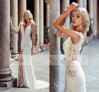 Boho Sexy Greek Boddess мода оболочки свадебные платья с прозрачным глубоким погруженным V-образным вырезом передние сплит бисером с низкой спинкой свадебные платья