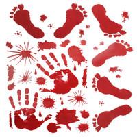 Pegatinas de pared de Halloween Huella de mano sangrienta Huella de la ventana Hormigueros Calcomanías de Clings Vampiro Zombie Party Handprint Calcomanías Decoraciones
