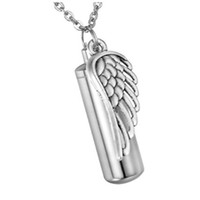 Fashion Jewelry Pendant Stainless Steel Angel winggs Cylinde...