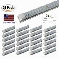 V em forma de 8FT LED tubo luzes 4FT 5FT 6FT 8 pés LED T8 6000 Lems 56W 72W lâmpada fluorescente integrada de lado duplo