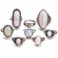Jsping Vintage Opal Knuckle Rings Set For Women Party Gifts ...