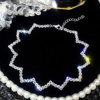 Kristal Gerdanlık Kolye Kadınlar Düğün Aksesuarları Gümüş Zincir Punk Gotik Geometrik Dalga Chokers Takı Collier Femme kolye