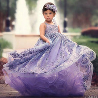 2018 Lavender Ball Gown Flower Girl Dresses For Wedding Beaded V Neck  Backless Toddler Pageant Gowns Tulle Sweep Train Kids Prom Dress 7717439dccf8