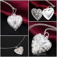 DIY ювелирные изделия латунь полые золото посеребренные Фото сердце медальоны эфирные масла медальоны кулон ожерелье b630