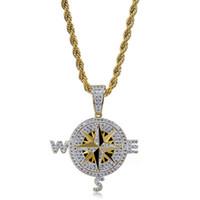 Collana con pendente della bussola Placcata in oro placcato in oro Zircone Zircone Bussola Pendente 60cm Acciaio inossidabile Catena Acciaio Hip-Hop Jewelry