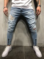 Autumn Summer Draped Jeans Mens Clothing Fashion Zippers Des...