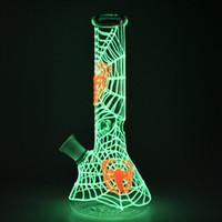 Überschreitet Glas Bong DAB Rigs Glühen in den dunklen Spinnennetz Hukas Bongs-Dazemas Wasserleitungen mit Schüssel Weibliche Verbindung 18mm GID02