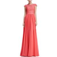 Moda Simples Lace Coral Evening Vestidos Chiffon mangas longas Prom Dresses 2020 Mulheres Partido vestidos on-line Vestido formal