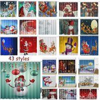 Weihnachtsschmuck Duschvorhang Weihnachtsmann Schneemann Elch wasserdicht 3D gedruckt Bad Duschvorhänge mit 12 Haken Dekoration