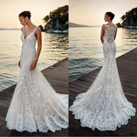 2019 Romantic 3D Appliques Full Lace Mermaid Wedding Dresses...