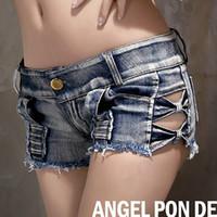 여자의 새로운 섹시한 패션 낮은 허리 춤 클럽 성능 사이드 활 빈 청바지 반바지 플러스 크기 SML