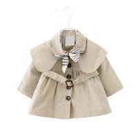 Dulce Amor autunno delle neonate del cappotto del rivestimento del bambino vestiti pieni frangivento manica con l'arco bambini Trench Coat tuta sportiva del cappotto Tops