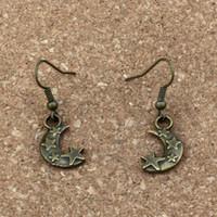 Estrelas da lua Charme Brincos Gancho Da Orelha de Peixe 24 pares / lote Antique bronze Lustre de Jóias 11x36mm A-331e