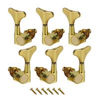6PCS مختومة رؤساء باس ضبط آلة أوتاد لل6 سلاسل الغيتار باس المستقبلون مفاتيح 3L + 3R، ذهبي اللون