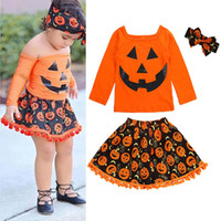 New pumpkin Halloween Boutique Girls Outfits baby girl cloth...