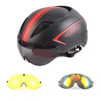 6b400a464cadc Aero Capacete Da Bicicleta Com Óculos de Proteção Ciclismo de Estrada  Bicicleta Esportes Capacete de Segurança Equitação Corrida Dos Homens  In-Mould ...