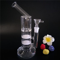 New glass bong water pipe with two fritted disc and turbine ...