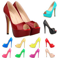 14 Colors Women Fashion Patent Leather Peep Toes Party High ...