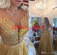 2018 sexy cheap gold appliques lace dress prom dresses a lin...