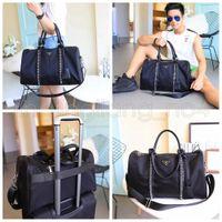 패션 여성 남자 블랙 체인 체육관 더플 가방 옥스포드 핸드백 여행 수하물 가방 야외 스포츠 대용량 totes 기저귀 가방 AAA632