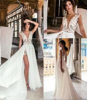 Nuevo encaje Bohemian Beach Vestidos de novia Vestidos nupciales Top Lace Leveless Gasiffon Una línea Vestidos baratos de Novia High Slit BC0277
