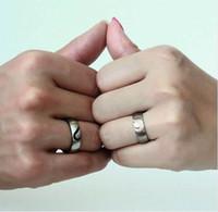 Vonx 1Pair sua dela amor coração casamento promessa anéis conjunto de casais de aço inoxidável faixas de noivado para homens e mulher
