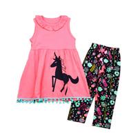 Летняя девушка Единорог платья костюм без рукавов жилет длинные черные цветочные брюки Ins Дети 2 шт. Набор Европейский и американский