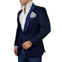 2018 Marineblau Mens Floral Blazer Designs Herren Paisley Blazer Slim Fit Anzug Jacke Männer Hochzeit Smoking Mode Männliche Anzüge (Jacke + Hose + Bogen)