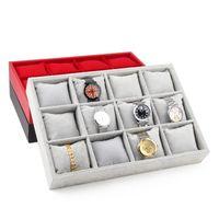 TONVIC preto / vermelho / cinza / Linen Assista pulseira de jóias mostrar bandeja Stand Holder Com 12pcs Pillow