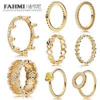 Fehmi% 100 925 Gümüş 1: 1 Glamour 18K Altın Parlayan Serisi Sihirli Taç Hollow Yüzük Petek Bal Halka Kadınlar Orjinal