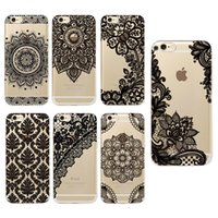 Soft TPU Black white Lace Painted Phone Case For iPhone X 5S...
