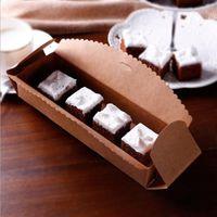 23 * 7 * 4 centímetros Caixa de Papelão Macaron Packaging Brown Partido Papel Kraft Jóias Bolo favor do casamento presente Scalloped caixa de embalagem
