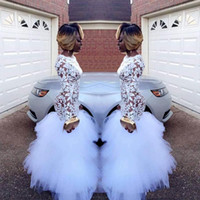 Sexy White Lace Prom Vestido Arabic Ruffles Tulle Jewel Neck Long Sleeve Mermaid Evening Dresses Ocasião Especial Vestidos