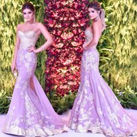 Charming Pale Lavender Prom Vestidos Beaded Sweetheart Appliques Mermaid Evening Dresses Custom Made Tulle Backless Vestidos de festa formal Sexy