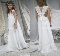 결혼식 저렴한 V 넥 쉬폰 레이스 아동 친교 Amandabridal 2020 보헤미안 꽃의 소녀 드레스 비치 웨딩을위한 정장 드레스