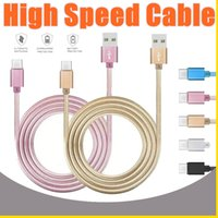 2018 High Speed ​​3ft 6ft 10ft Metallgehäuse Geflochtene Micro-USB-Kabel Durable Verzinnen Lade USB Typ C-Kabel für S7 S8 Android Smart Phone