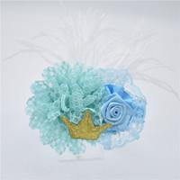 16pcs Crown Blumen Spitze Haarband Stirnband Feder cabelo Meninas rustico pequena flor fresca perola frisado Faixas de cabelo faixa HD096