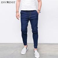 Envmenst Mode Harem Homme Jeans Lavé Pieds Shinny Denim Pantalons Hip Hop Vêtements de sport taille élastique Joggings Livraison gratuite