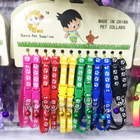 6 Colors Cute Puppy Dogs Collar with Bells Paw Printed Nylon...
