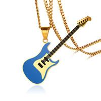 """Pendentif guitare bleue pour les femmes hommes Collier musique en acier inoxydable Amoureux du Club Accessoires Bijoux Casual Punk unisexe 24"""" chaîne"""