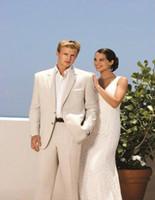 العلامة التجارية الجديدة البيج الرجال الزفاف البدلات الرسمية جودة عالية العريس البدلات الرسمية الشق التلبيب اثنين زر الرجال السترة 2 قطعة البدلة (سترة + سروال + التعادل) 2038