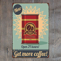 Open 24 Hours Get More Coffee Good Morning Retro Metal Sign ...