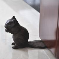 2 piezas de época Cast Escultura Hierro ardilla parada de puerta de cuña de metal Tope de puerta Animal tapón de la puerta estatua de metal de la decoración del hogar retro